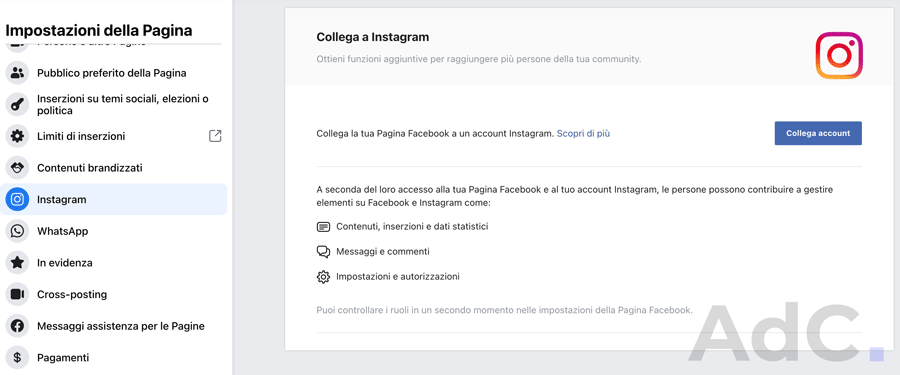 come collegare pagina facebook a instagram