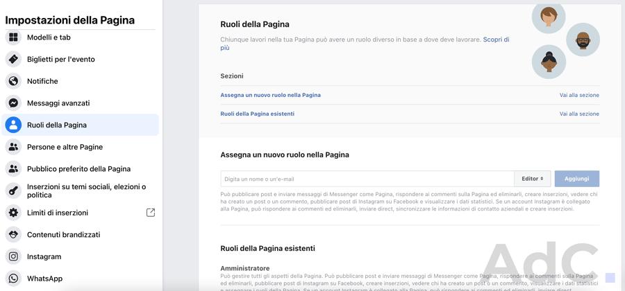 come configurare ruoli della pagina facebook