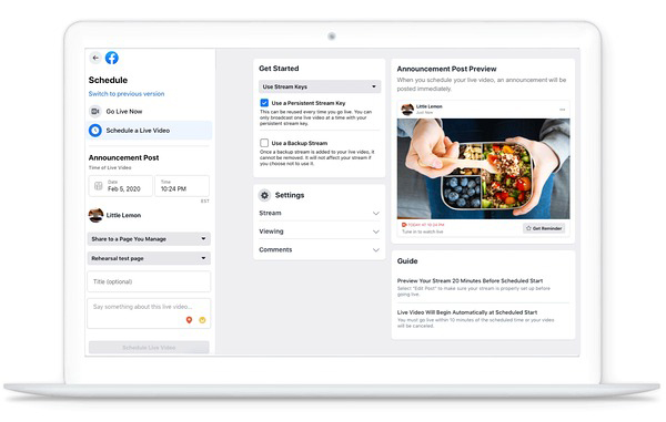 facebook live programmazione dirette