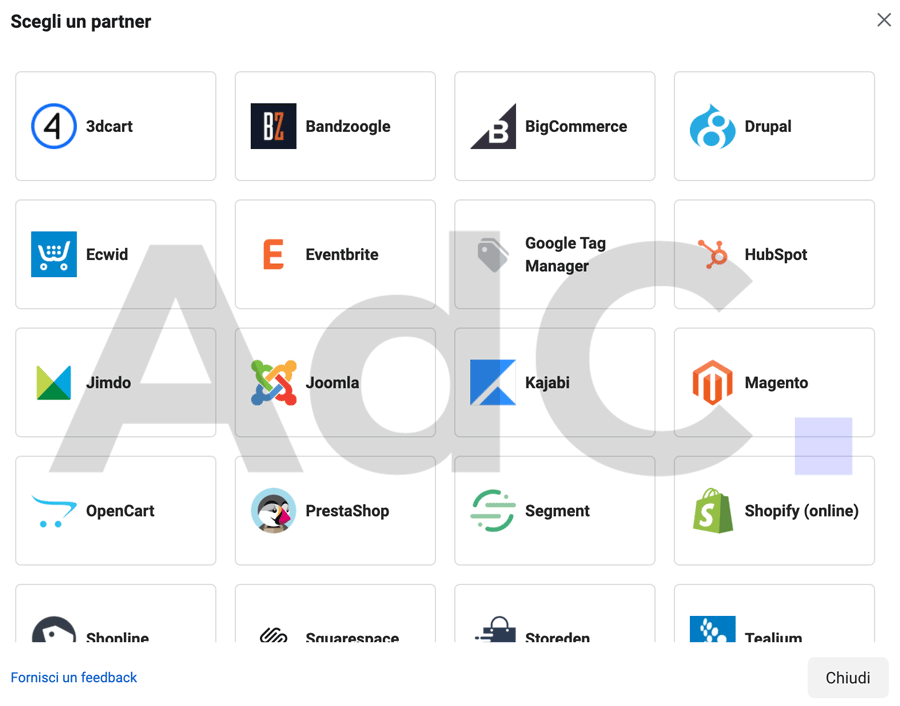 tutti i partner del pixel di facebook