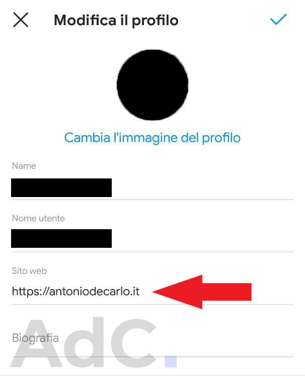 come inserire link bio instagram