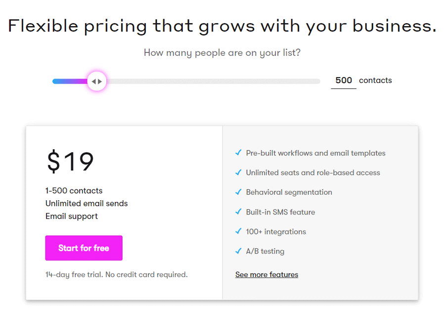 drip email prezzi